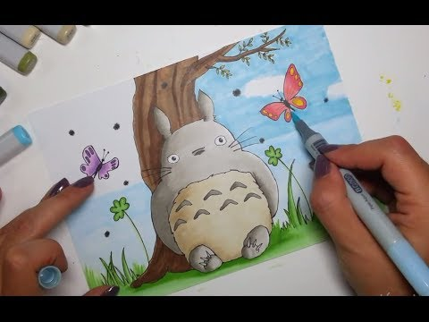 Drawing My Neighbour Totoro Copic Markers Speen Paint YouTube