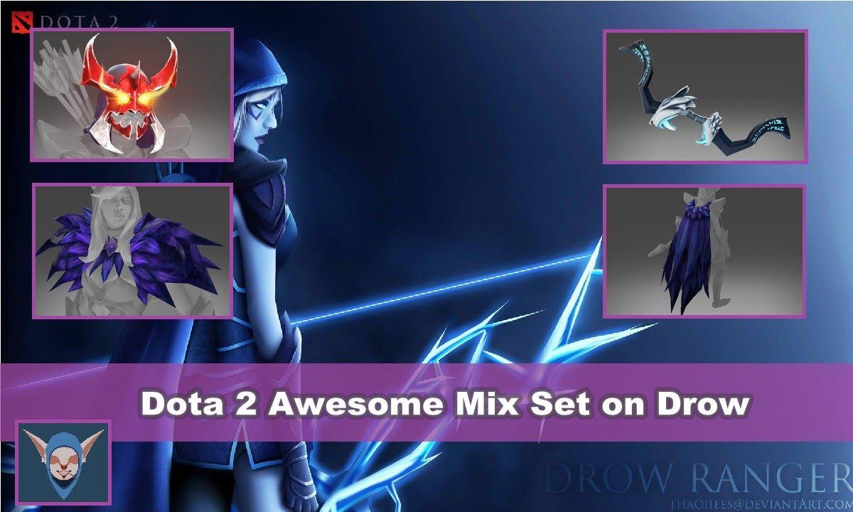 Drow Ranger S Mania S Mask Immortal: Dota 2 Drow Ranger Mix Set (Raven Set + Mania's Mask + Bow