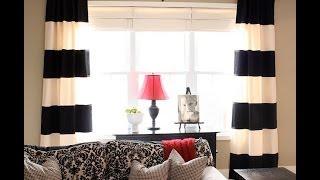 Черно-белые шторы для черно-белой гостиной, спальни и кухни.