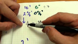 Divide feet - inches using fractions