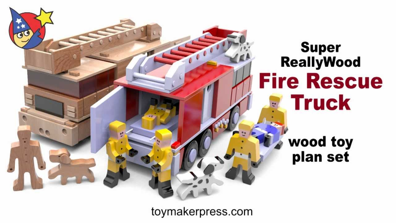Wood Toy Plans - Fire Truck and Firemen Plan Set - YouTube