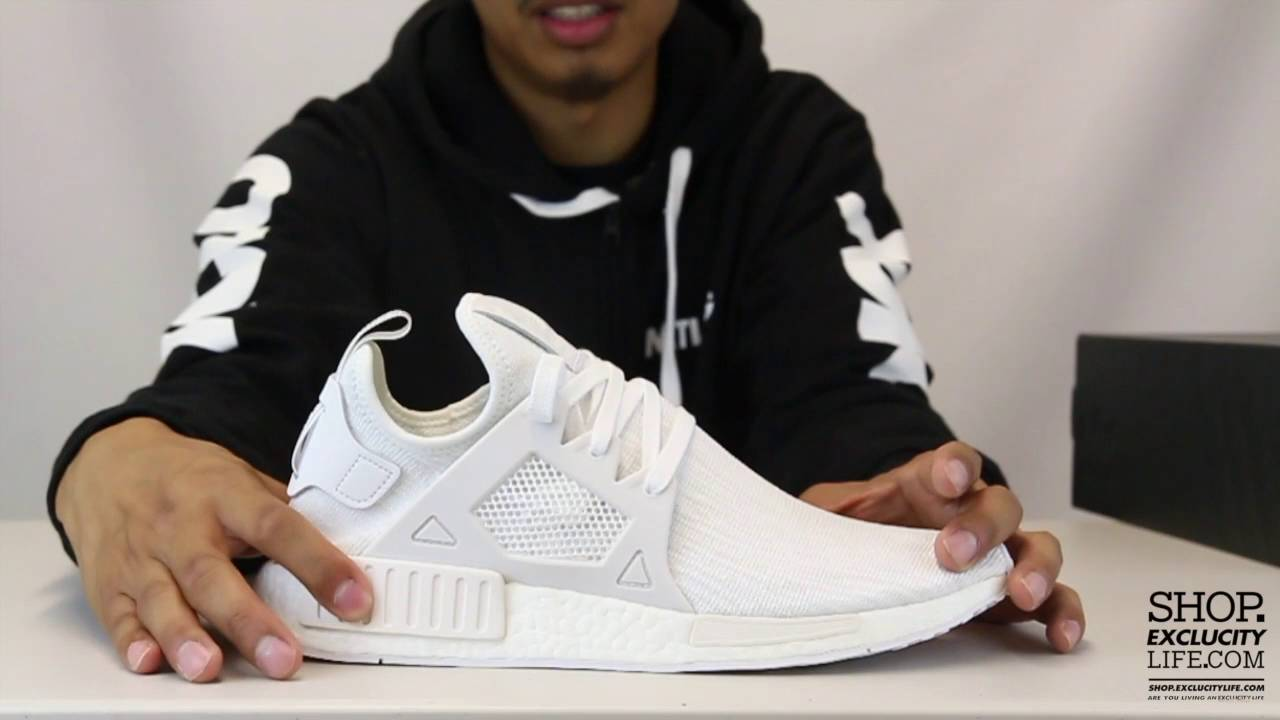 new photos 76886 23c85 Adidas NMD XR1 PK White Unboxing Video at Exclucity