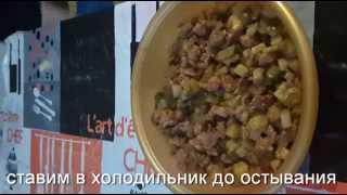 салат из соленых огурцов с мясом, просто и вкусно
