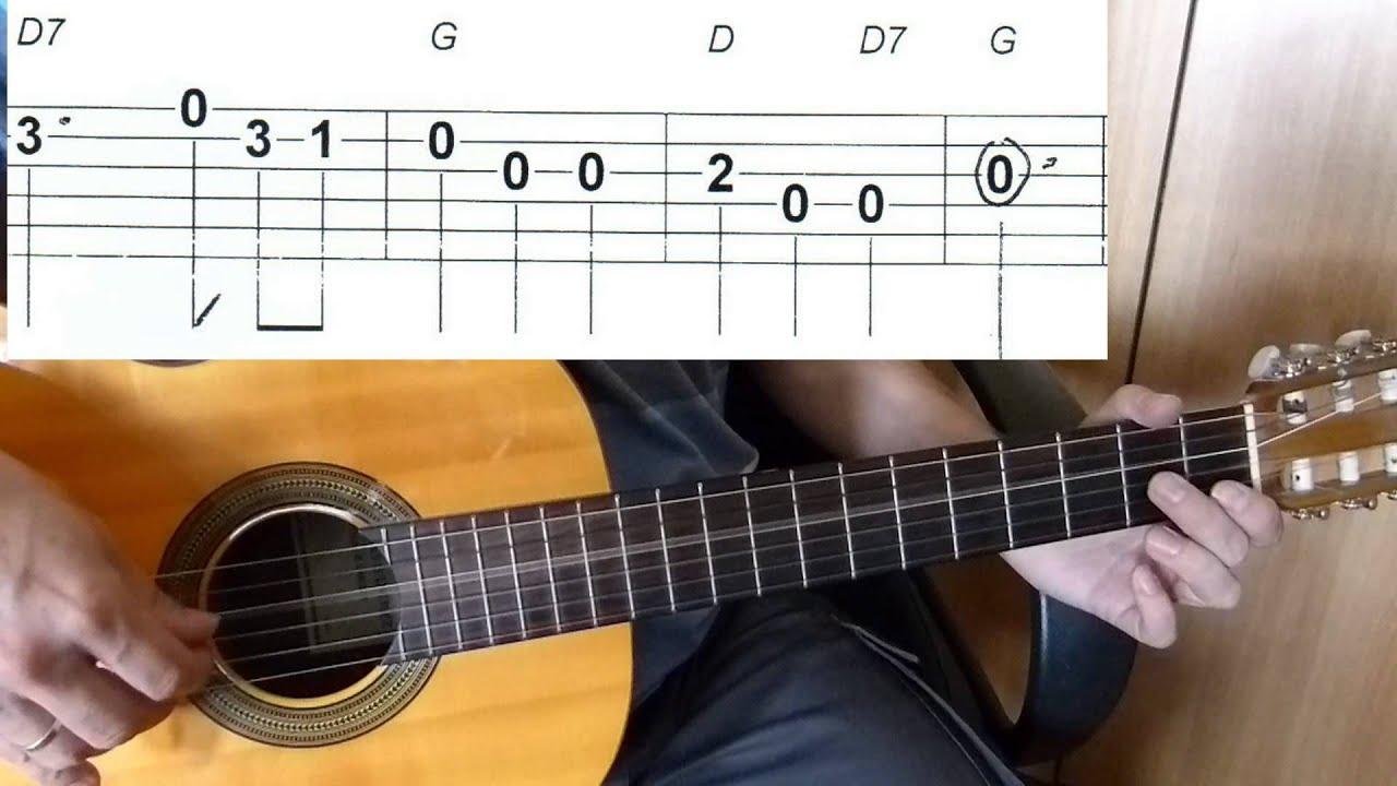 Oh du lieber Augustin - Easy Guitar melody tutorial + TAB ...