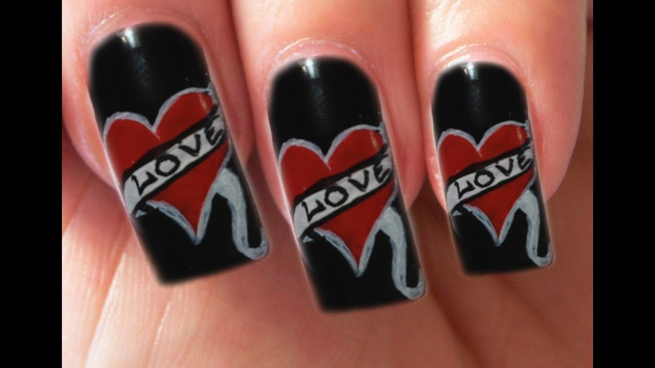 Valentine\'s Day Special 6/10 Ed Hardy Inspired Nail Art Tutorial ...