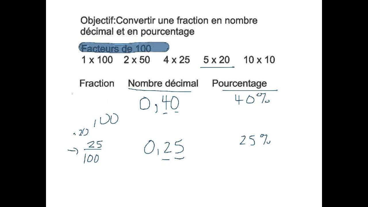 Convertir une fraction en nombre d cimal et en pourcentage for Calculer le nombre de parpaing