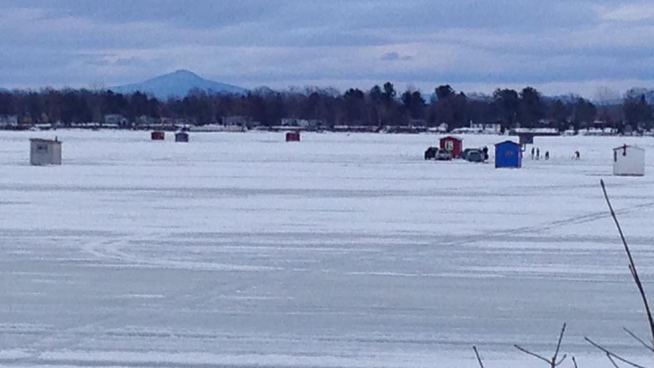 Lake champlain venise en quebec ice fishing in february for Lake champlain fishing report