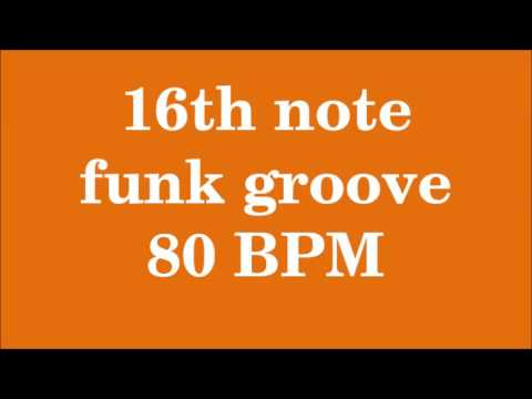 Drum Loop for Practice 16th note funk groove 80 bpm