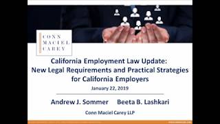 California Employment Law Update for 2019