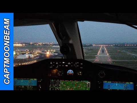 Cessna Citation Mustang Landing Cockpit, Nashville At Night And ATC Radio