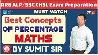 RRB ALP / GROUP D , SSC CHSL | Best Concepts Of Percentage | Maths