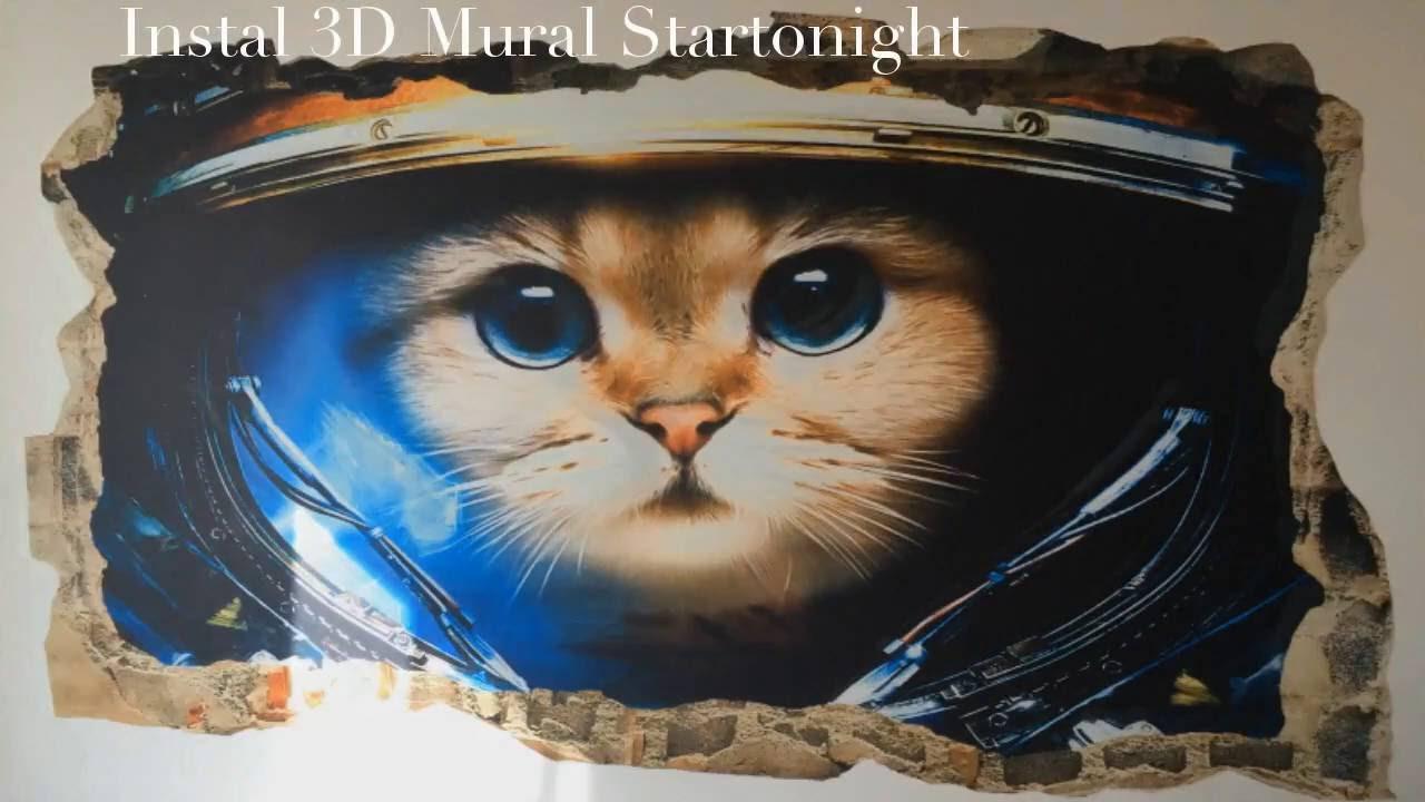3dmural101 startonight 3d mural wall art astronaut cat amazing