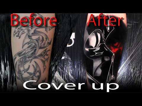 TATTOO TIME LAPSE | COVER UP TATTOO | DARTH VADER | MICHAEL KOSCHEL ART
