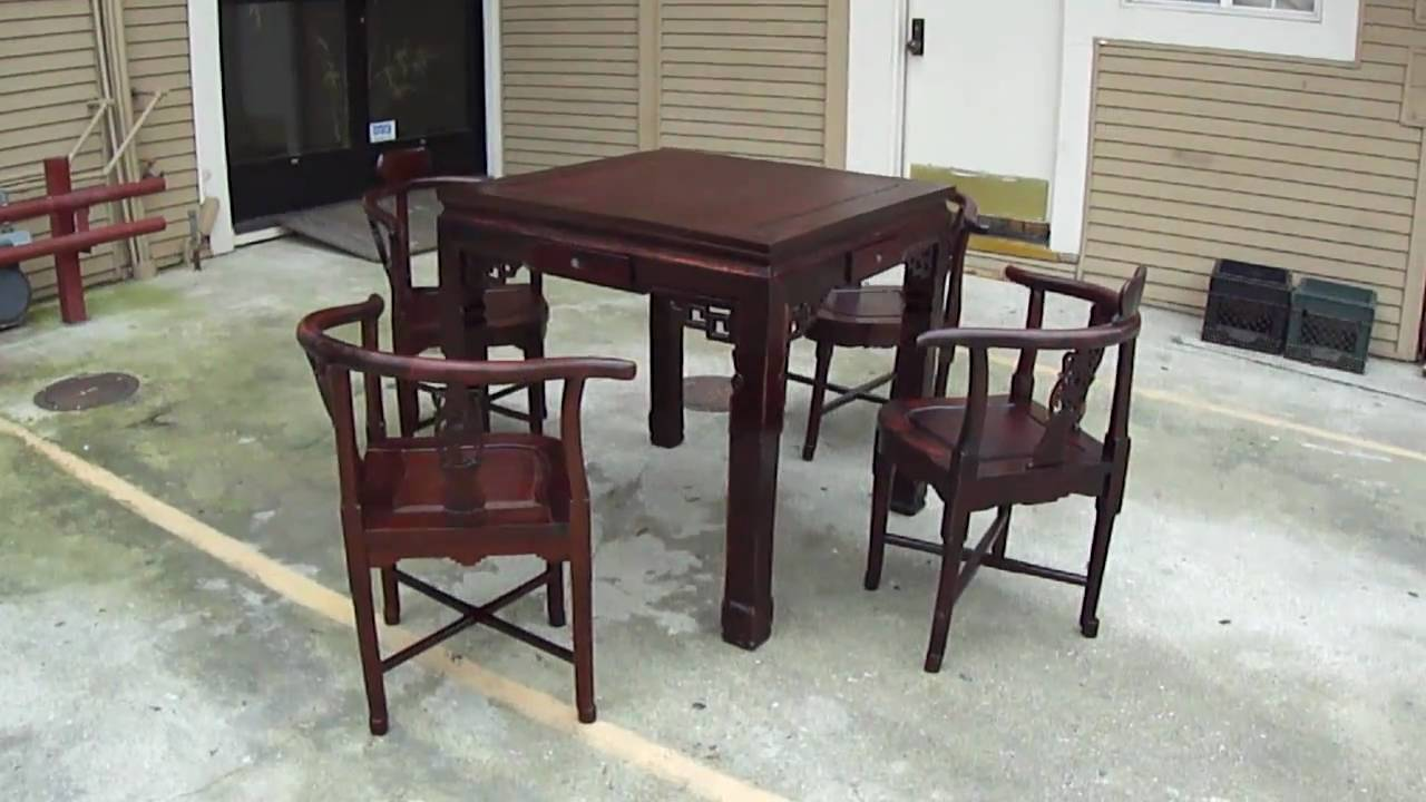 Chinese Red Wood Antique Square Carving Game Table Set