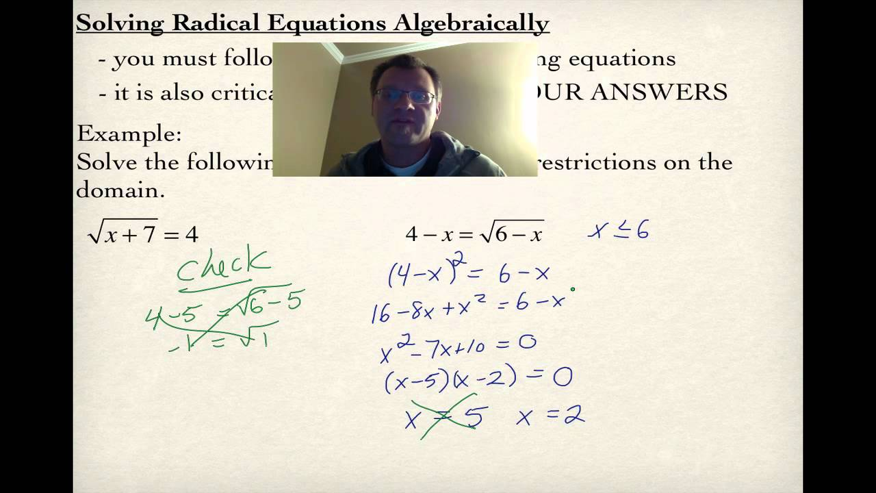 2.3 Solving Radical Equations Graphically (Pre-Calculus 30) - YouTube