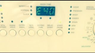 zanussi washing machine e40 error fault code