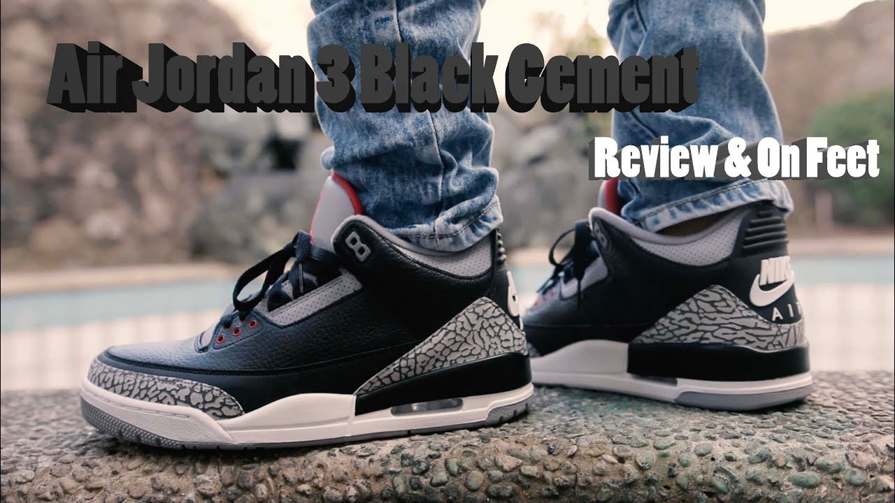 b8c3ec7423a8 Nike Air Jordan 3 Black Cement 2018 Review   On Feet - YouTube
