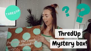 Unboxing a $75 THRIFTED Mystery Box | ThredUp Review + Try-on!