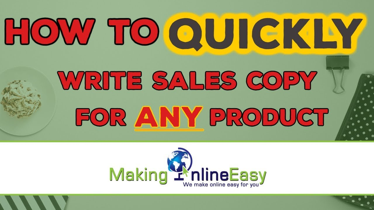 How To Quickly Write Sales Copy For Any Product Copywriting Youtube