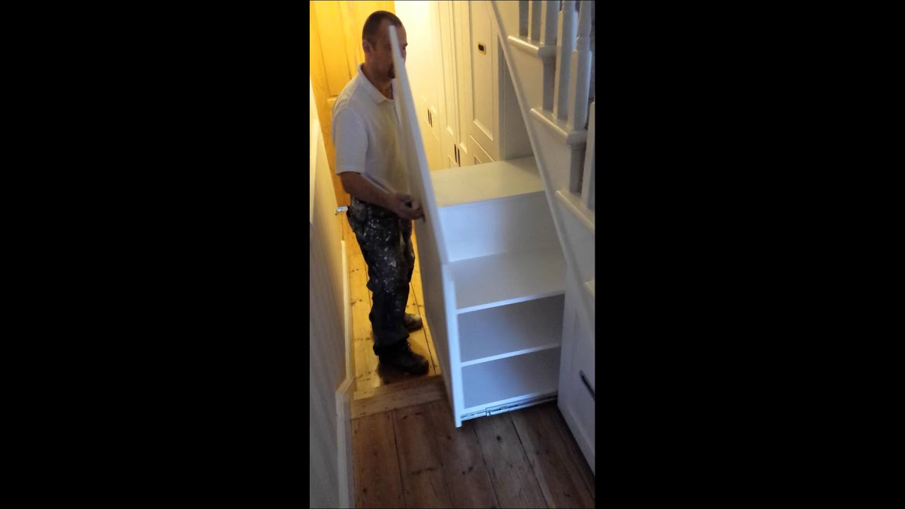 Under stairs drawers youtube for Under stairs drawers plans