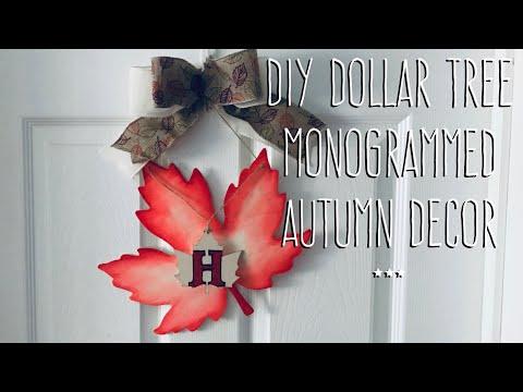 **Autumn Wreath Week** DIY Dollar Tree  Monogrammed  Autumn Decor