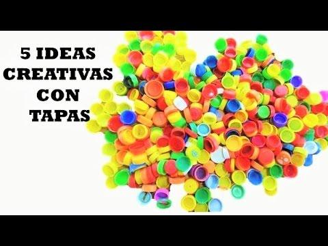 5 Creativas Con Tapas De Botella Plastica Youtube