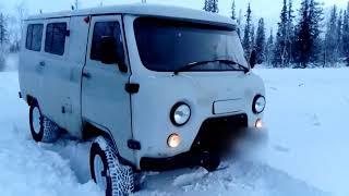 УАЗ Буханка на Nokian Hakkapeliitta LT2 285/75 R16 в снегу