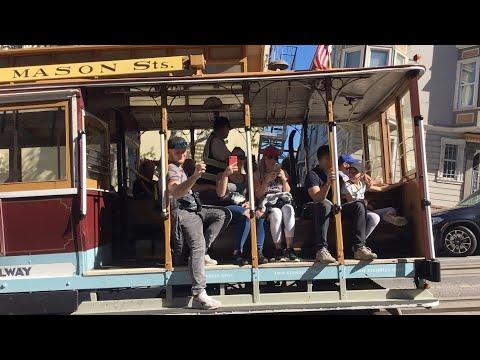 Powell-Mason Cable Car 27 @ Mason St & Union St San Francisco California (Slow Motion)