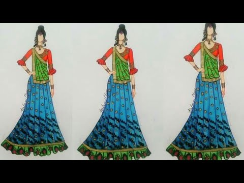 How to draw beautiful lehenga choli !! how to draw indian traditional dress !! #fashionsketch( 8)
