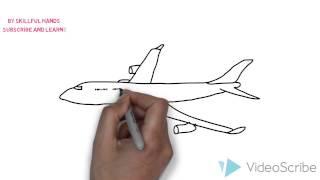 видео как нарисовать самолет