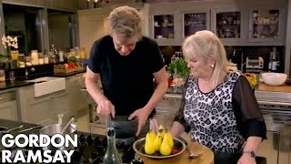 chilli poached pears with star anise dust   gordon ramsay