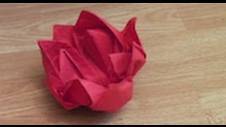 How to make an Origami water lilly out of a napkin