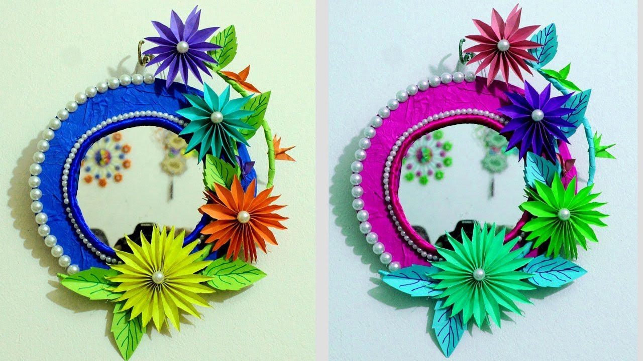 Diy How To Make Mirror Decoration From Paper Flower Wall With Craft