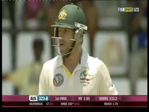 Matthew Wade 106 vs West Indies 3rd test 2012 -1ST TEST TON!