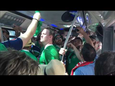 Northern Ireland fans going to the game. POL - NIRL. 2016-06-12