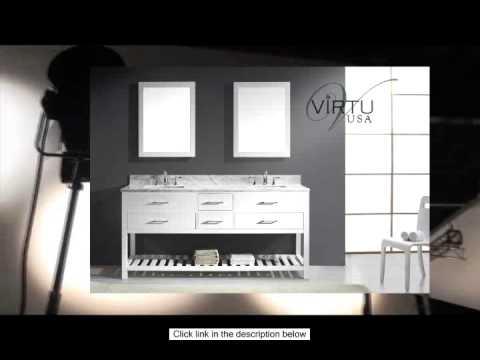 Virtu USA MD-2272-WMSQ-WH Transitional 72-Inch Double Sink Bathroom Vanity Set White