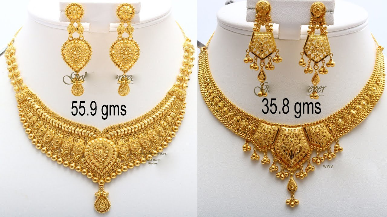 Latest Bridal Gold Haram Necklace Designs With Weight Latest Light Weight Jewellery T F Youtube