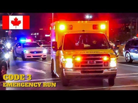 Pointe-Claire   Urgences-Santé & Montréal Police (SPVM) Code 3 Emergency Run To Lakeshore Hospital