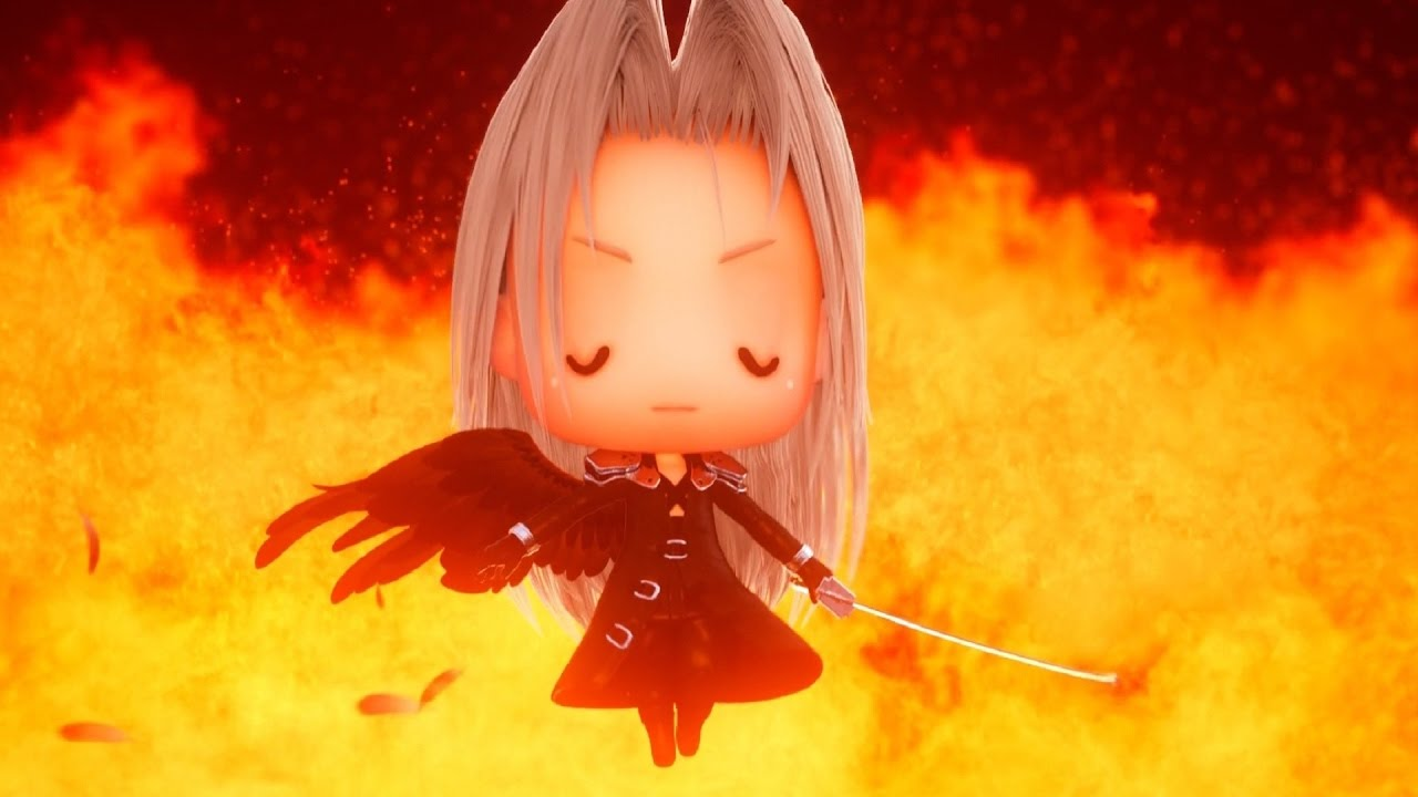 Chibi Sephiroth from World of Final Fantasy standing in the flames
