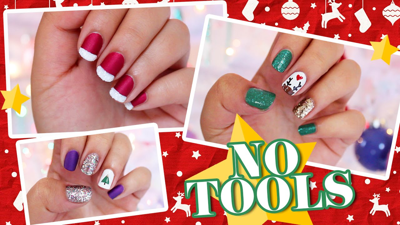3 easy no tools christmas nail art youtube prinsesfo Choice Image