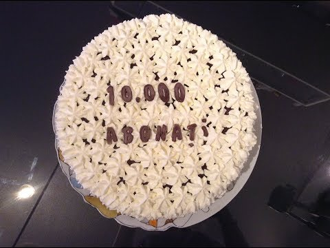 Tort aniversar 10000 de abonati / Tort cu crema de cacao ,sirop zahar ars si frisca