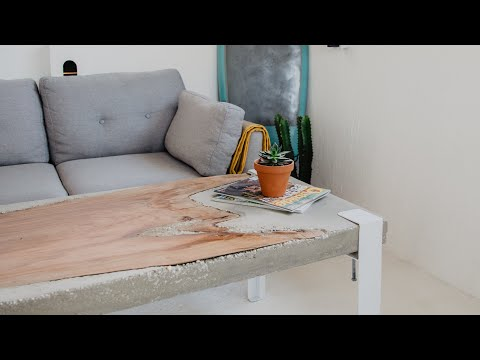 How To Make A Concrete Coffee Table with Live Edge Slab Inlay 🤙🏼