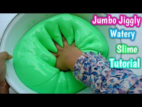 Jumbo Jiggly Watery Neon Slime Tutorial