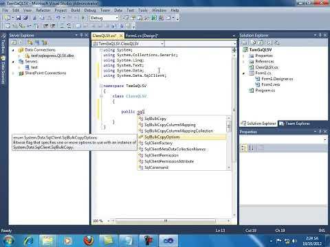 SQL Server 2k8 + Visual Studio 2010 [ Quản Lý Sinh Viên ]