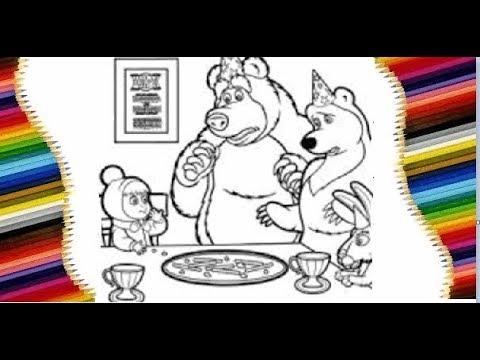 Маша и Медведь. Учимся рисовать. Раскраска. - YouTube