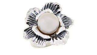 LiPaz Cultured Freshwater Pearl Center Flower Sterling S...