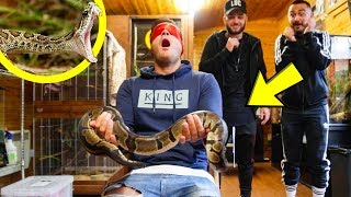 HOLDING SNAKES BLINDFOLDED... (HIS BIGGEST FEAR)