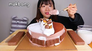 MUKBANG 달콤한 가나슈 초코케이크와 초콜렛 🍫 디저트 먹방 GHANA CHOCOLATE CAKE Dessert asmr チョコレートケーキ