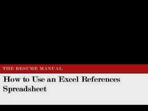 Resume Excel Format | How To Use The Excel References Spreadsheet The Resume Manual