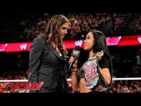 Raw - Stephanie McMahon calls into question AJ Lee's Divas Championship win at WWE Payback: June 13, 2013
